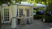 Stationary Awning With Curtains, Greenwich CT